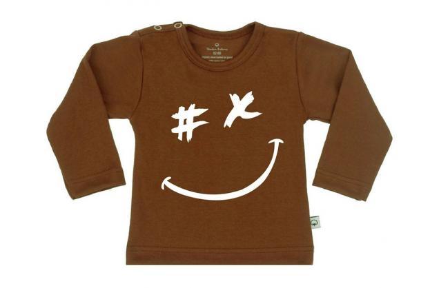 Wooden Buttons t-shirt lm  gezichtje choco