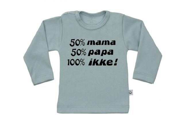 Wooden Buttens t-shirt lm  50 mama 50 Papa 100 Ikke old green