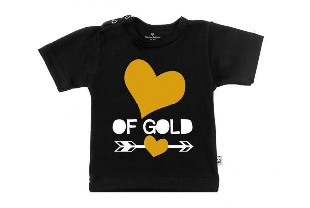 Wooden Buttons t-shirt km hart van hartjes zwart