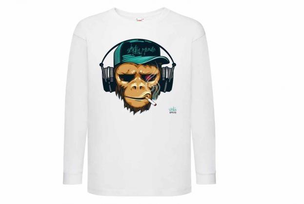 Discharge T-shirt lm wit Aap koptelefoon