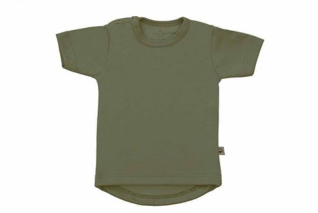 Wooden Buttons t-shirt km rond army