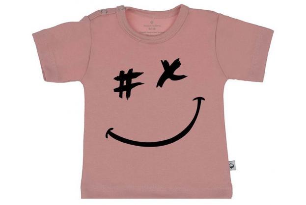 Wooden Buttons t shirt km gezichtje old roze