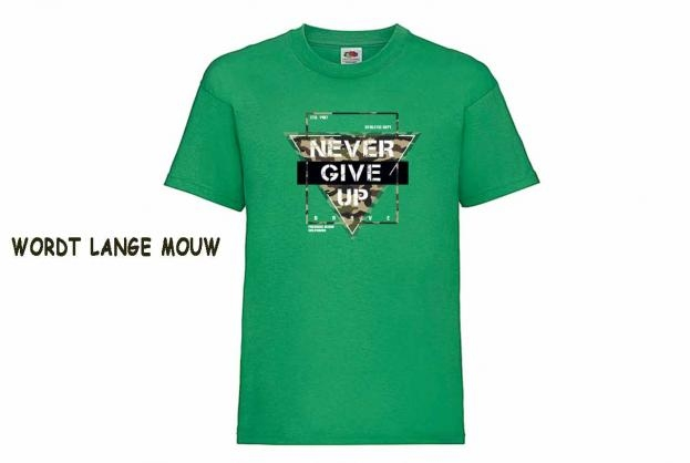 Discharge T-shirt lm groen Never give up