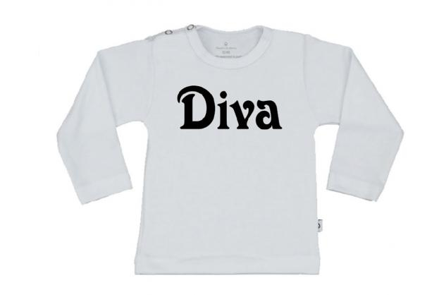 Wooden Buttens t-shirt lm Diva wit