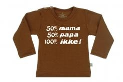 Wooden Buttens t-shirt lm  50 mama 50 Papa 100 Ikke choco