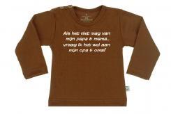 Wooden Buttens t-shirt lm  als het niet van mama mag Choco