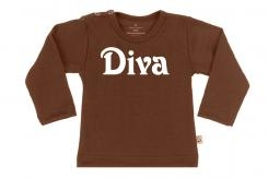 Wooden Buttens t-shirt lm diva  choco
