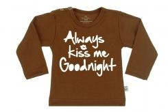 Wooden Buttens t-shirt lm  always kiss me goodnight choco
