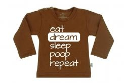 Wooden Buttens t-shirt lm eat dream sleep poop repeat choco