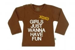 Wooden Buttens t-shirt lm xoxo Girls just Wanna have fun Choco