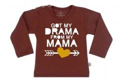 Wooden Buttens t-shirt lm Got my Drama from my Mama choco