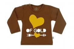 Wooden Buttens t-shirt km Hart van goud choco