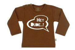 Wooden Buttens t-shirt km Hey Dude Choco