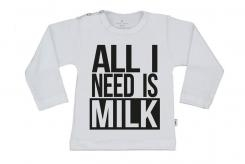 Wooden Buttons t-shirt lm All I need is Milk wit