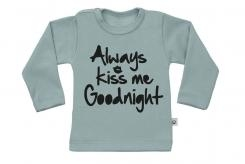 Wooden Buttons t-shirt lm always Kiss me Goodnight old green