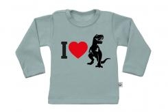 Wooden Buttons t-shirt lm I love Dino old green