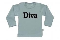 Wooden Buttens t-shirt lm Diva old green