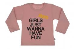 Wooden Buttens t-shirt lm Girls just wannahave fun old roze
