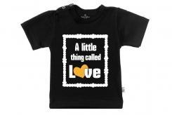 Wooden Buttons t-shirt km A Little called love zwart