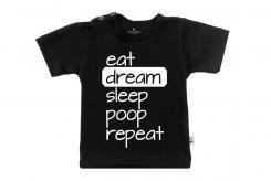 Wooden Buttons t-shirt km eat dream sleep poop repeat old zwart