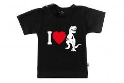 Wooden Buttons t-shirt lm i love dino zwart