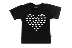 Wooden Buttons t-shirt lm hart van hartjes zwart