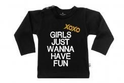 Wooden Buttons t-shirt lm xoxo Girls just Wanna have fun zwart