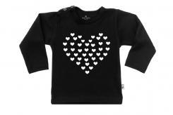 Wooden Buttens t-shirt lm hart van hartjes zwart