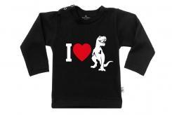 Wooden Buttens t-shirt lm i love dino zwart