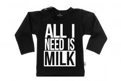 Wooden Buttons t-shirt lm All I need is Milk zwart