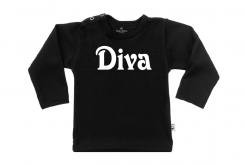 Wooden Buttens t-shirt lm Diva old zwart