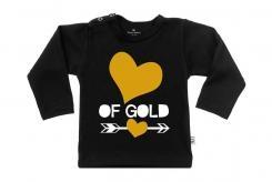 Wooden Buttons t-shirt lm Hart of Gold old zwart