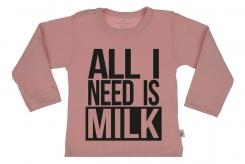 Wooden Buttons t-shirt lm  All i need is milk old roze