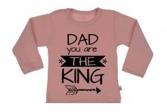 Wooden Buttens t-shirt lm Dad you are the King old roze