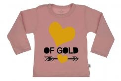 Wooden Buttons t shirt lm Hart of Gold old roze
