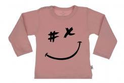 Wooden Buttons t shirt lm gezichtje old roze
