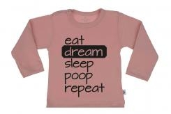 Wooden Buttens t shirt lm eat Dream Sleep poop repeat old roze