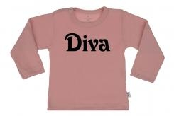 Wooden Buttens t shirt lm Diva old roze