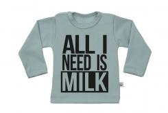 Wooden Buttens t-shirt lm All I need is Milk old green
