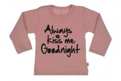 Wooden Buttons t-shirt lm always Kiss me Goodnight old roze