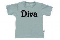 Wooden Buttons t-shirt km Diva old green
