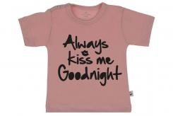 Wooden Buttons t-shirt km always Kiss me Goodnight old roze