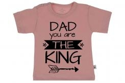 Wooden Buttons t-shirt km Dad you are the King old roze