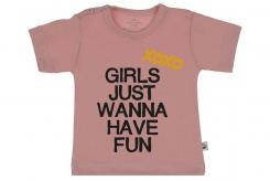 Wooden Buttons t-shirt km Girls just wannahave fun old roze