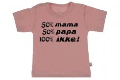 Wooden Buttons t-shirt km 50 mama 50 Papa 100 Ikke old roze