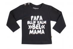 Wooden Buttens t-shirt lm  Papa blijf rustig bel Mama zwart
