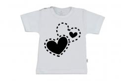 Wooden Buttons t-shirt km 2 hartjes wit