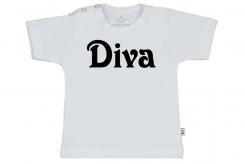 Wooden Buttons t-shirt km Diva wit