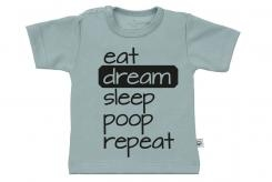 Wooden Buttons t-shirt lm eat dream sleep poop repeat old green