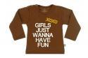 Wooden Buttens t-shirt lm xoxo Girls just Wanna have fun Choco